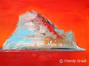 Wendy Graat abstract 60x80 acryl Es Vedra II schilderij rood oranje